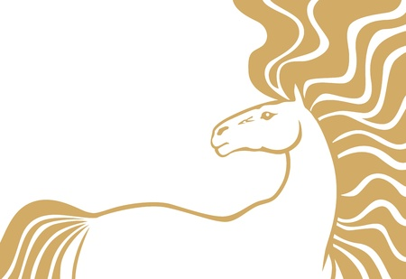 Contour image of beautiful horse with long fluttering mane and tail Stock Vector - 18541780
