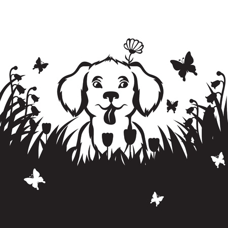 Cartoon cute little puppy is sitting in the grass in the meadow Vector