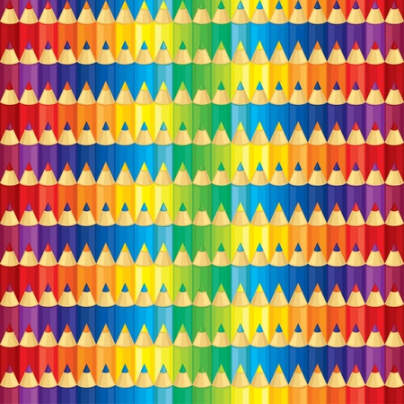 Seamless pattern of set of multicolor pencils of rainbow colors Stock Vector - 18574653