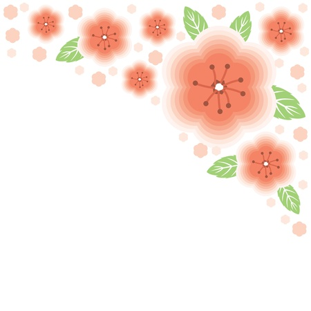 Floral greeting background with gentle pink flower Vector