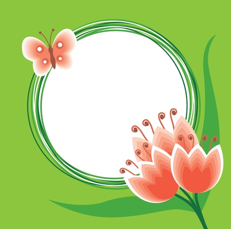 Flower greeting background with butterfly and round blank for text Vettoriali