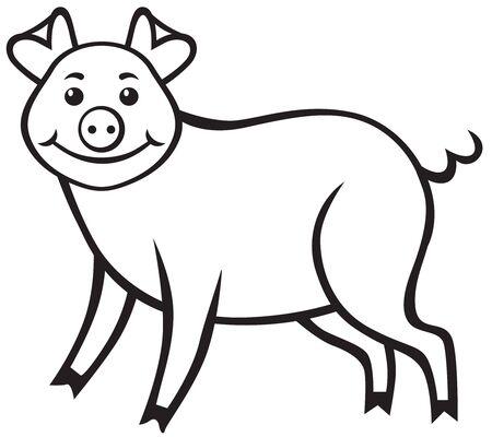 mumps: Contour image of a cute cartoon pig Illustration