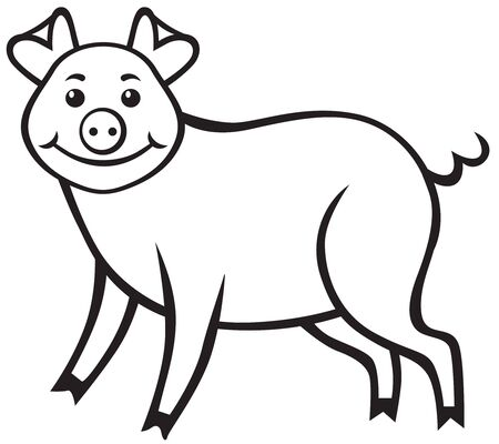 mumps: Contour imagen de un cerdo lindo de la historieta Vectores