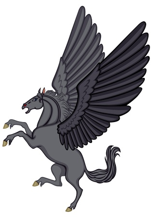 rear wing: Cartoon image of a winged black horse Pegasus