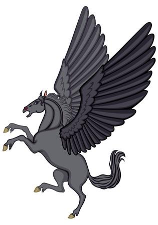 rear wing: Cartoon image of a winged black horse Pegasus