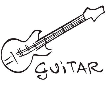 Stylizes contour black image guitar Ilustração