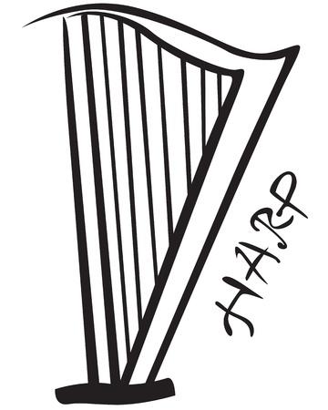 Stylizes contour black image harp Stock Vector - 18828695