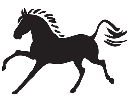gait: A silhouette of a beautiful horse galloping