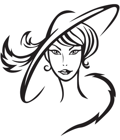 woman fur: Contour image of a beautiful lady in hat with feathers