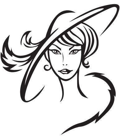 dibujos animados de mujeres: Contour imagen de una bella dama en el sombrero con plumas Vectores