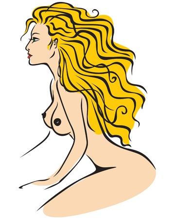 Schöne nackte Mädchen mit langen Haaren