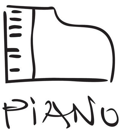 Stylizes contour black image piano Illustration