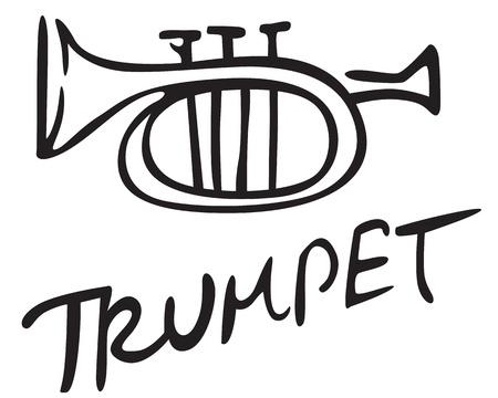 Stylizes contour black image trumpet Ilustração