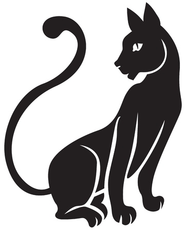 The silhouette of black graceful cats  Illustration