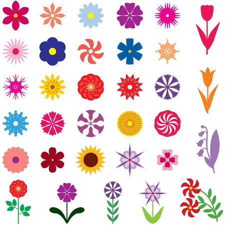 bell flower: Set of 33 images of different multicolor flowers