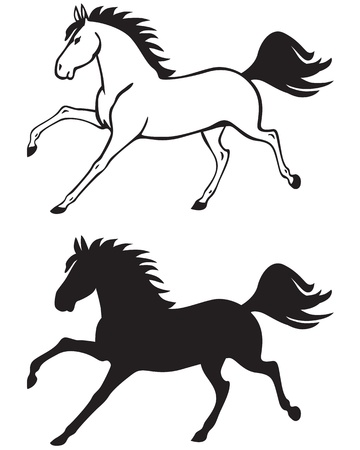 Silhouette and contour image of a beautiful horse galloping Vector