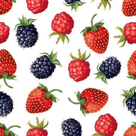 Seamless pattern of realistic image of delicious ripe berries Illustration