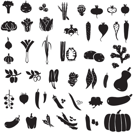 Set of silhouette images of different vegetables Çizim