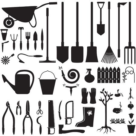 Set of silhouette images of garden equipment Vettoriali