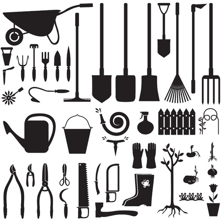 Set of silhouette images of garden equipment Çizim