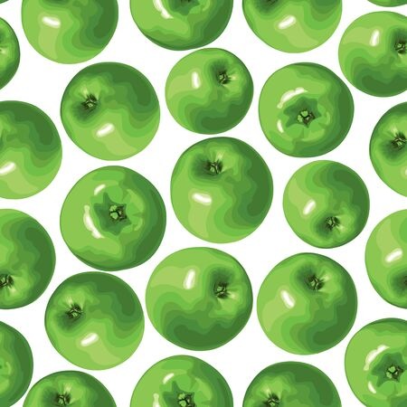 Seamless pattern of green apple Vector