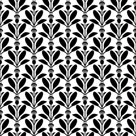 Seamless pattern with silhouette flower Vector