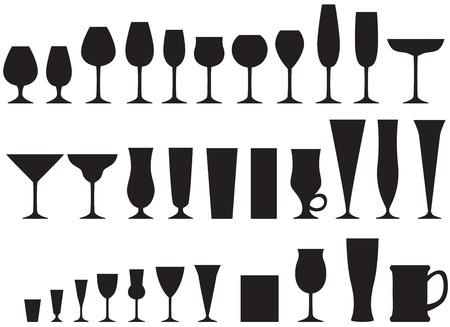 glasses: Set of silhouette images of glass glasses for different drinks