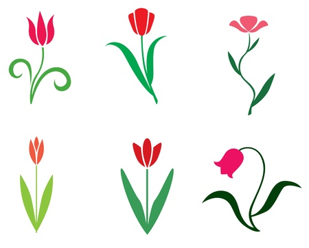 Set of stylized tulips flower Vector
