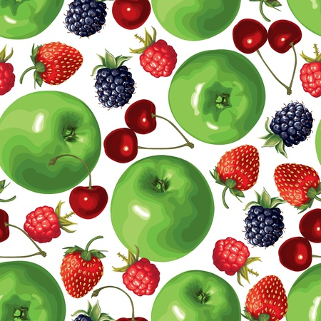 Seamless pattern of green apple and berries Vector