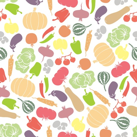 Seamless pattern with silhouette vegetables