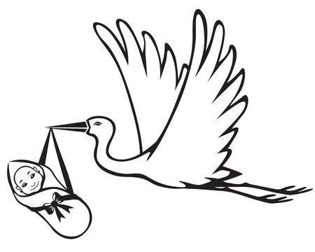 brings: Image of a stork which brings baby Illustration