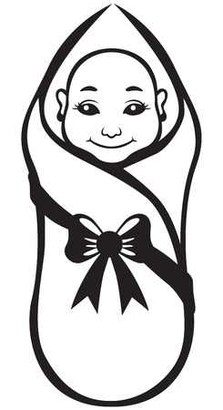 swaddle: Image of black and white contour cartoon swaddle baby