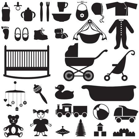 babero: Conjunto de imágenes de la silueta de las cosas de los niños Vectores