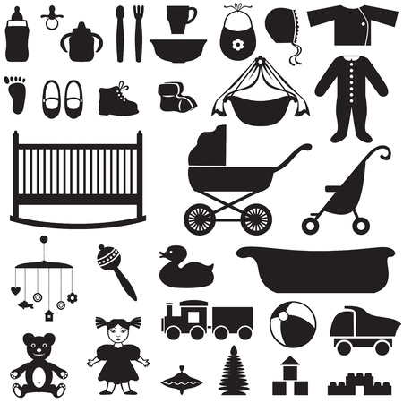 Set of silhouette images of childrens things Çizim