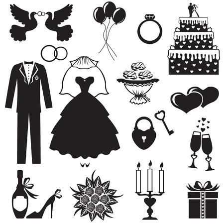 Satz von Silhouette Images von romantische Hochzeit Standard-Bild - 19941227