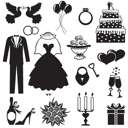 Set of silhouette images of romantic wedding Vector