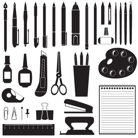 pencil sharpener: Silhouette image of different stationery
