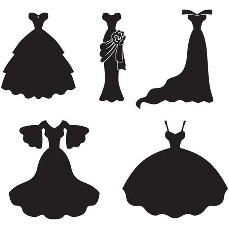 ウェディングドレス: 結婚式ドレスのシルエット画像のセット  イラスト・ベクター素材