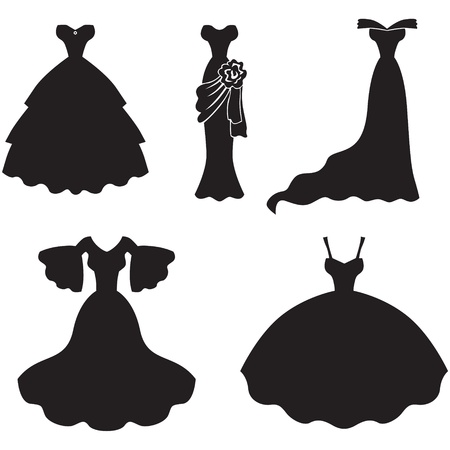 wedding dress: Set of silhouette images of wedding dress