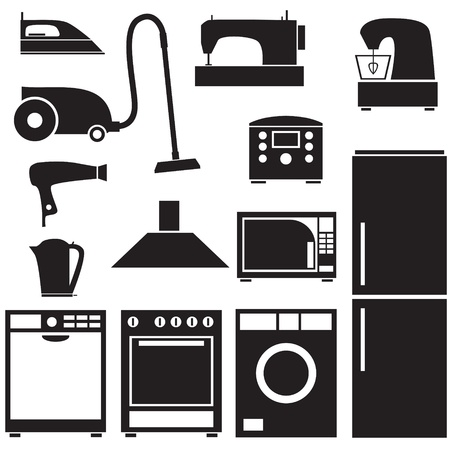 household appliances: Set of silhouette images of household appliances Illustration