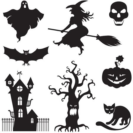 harridan: Conjunto de im�genes de horror de la silueta de un Halloween