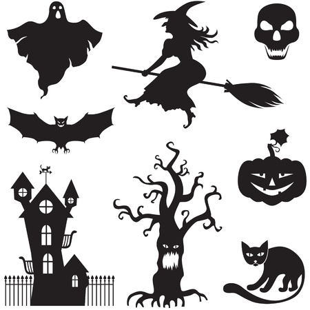 harridan: Set of silhouette horror images of a Halloween   Illustration