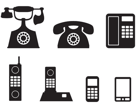 antique telephone: A silhouette image of a different telephone