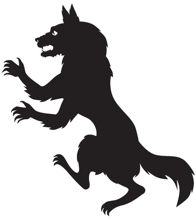 Silhouette image of scary werewolf Vector