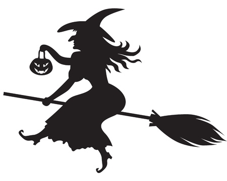 beldam: Silhouette of Halloween witch with a pumpkin-lantern on a broom