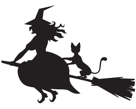 Silhouette of Halloween witch with and cat on a broom Çizim