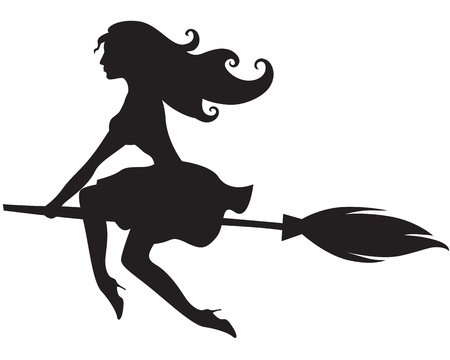 Pretty glamorous witch flying on a broomstick Stock Vector - 20465948