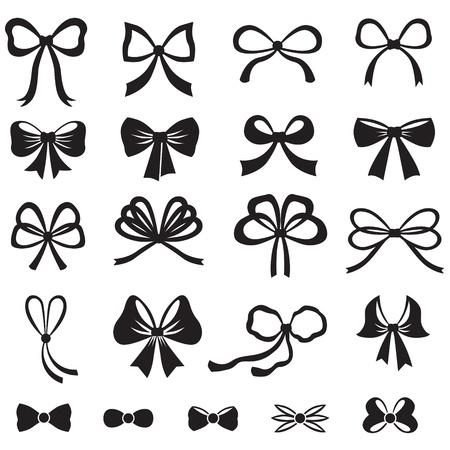 lazo regalo: Imagen de la silueta blanco y negro de la serie del arco Vectores