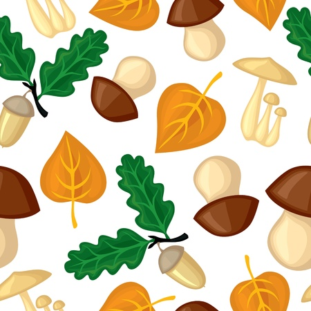 Autumn seamless pattern with mushrooms, leaves and acorns Vector