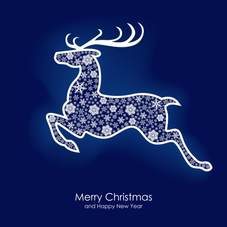 Beautiful Christmas prancing reindeer card Vector
